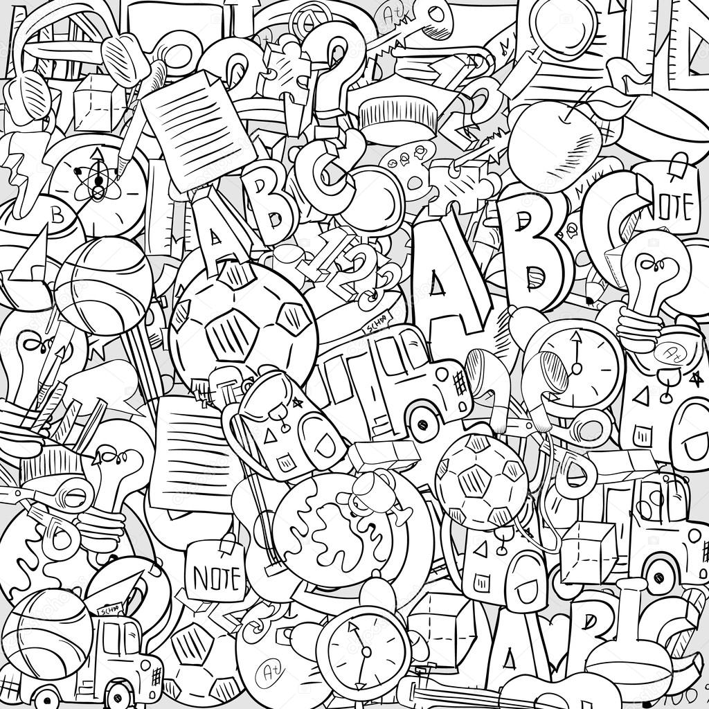 1024x1024 Back Of School Objects On Background, Drawing By Hand Vector