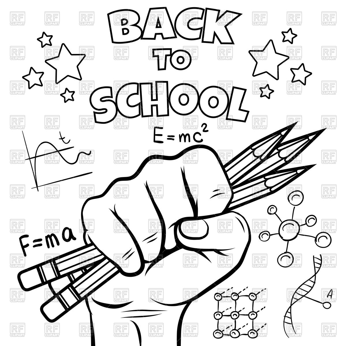 1200x1200 Back To School Coloring Page Royalty Free Vector Clip Art Image