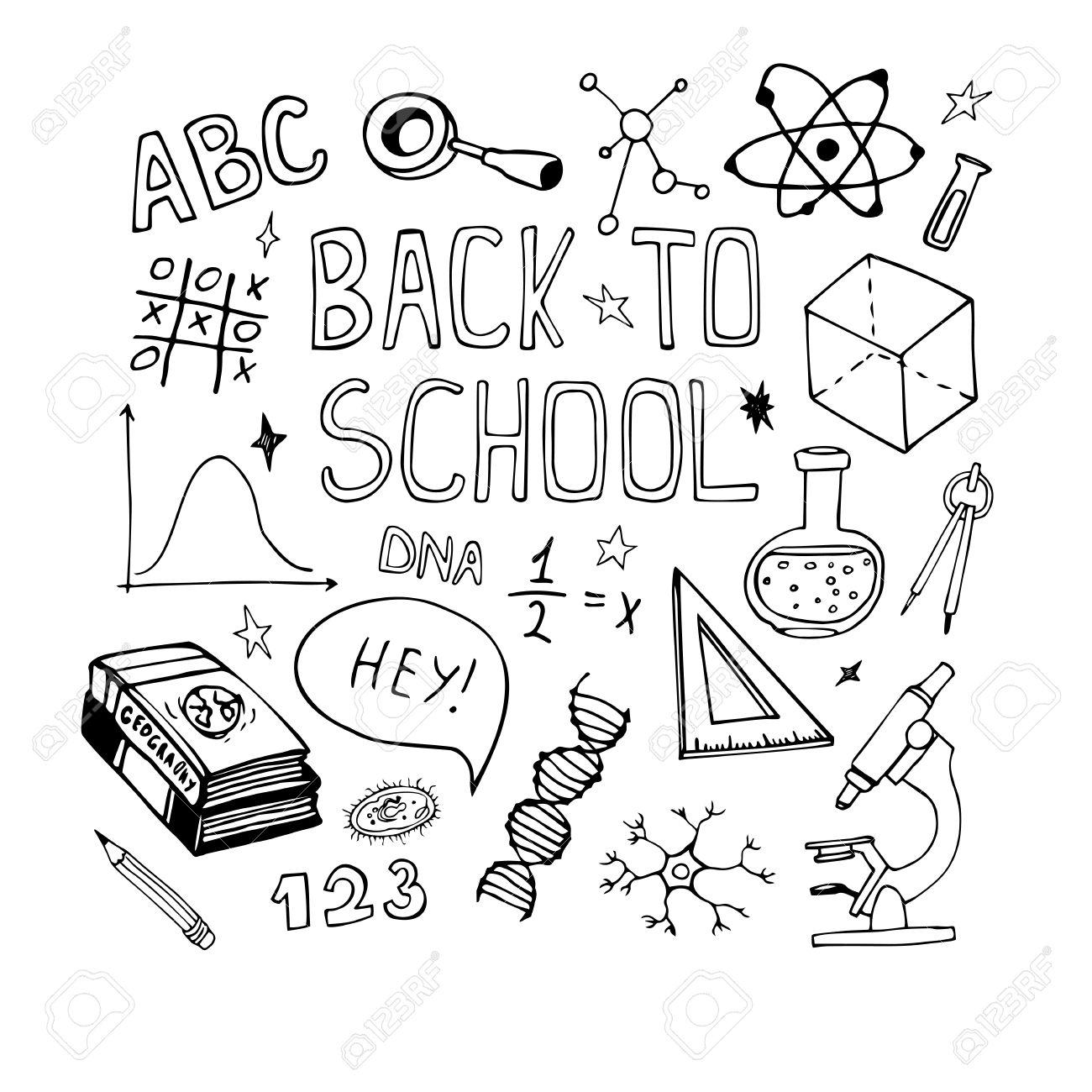 1300x1300 Hand Drawn Education Doodles. Math, Biology Sketch Drawing. Back