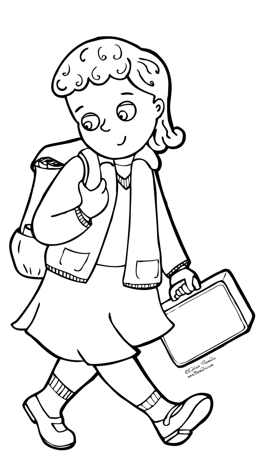 909x1600 Kids At School Coloring Page