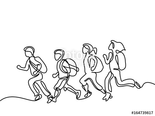 500x375 Kids Running Back To School With Bags. Continuous Line Drawing
