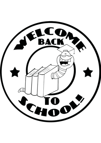 339x480 Mascot Bookworm With Text Back To School Coloring Page Free