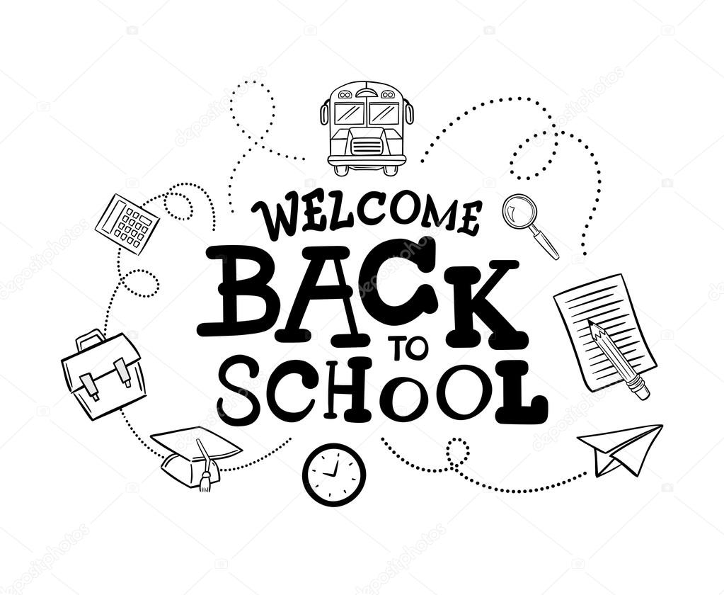 1023x840 Welcome Back To School Message Stock Vector Vectorfusionart