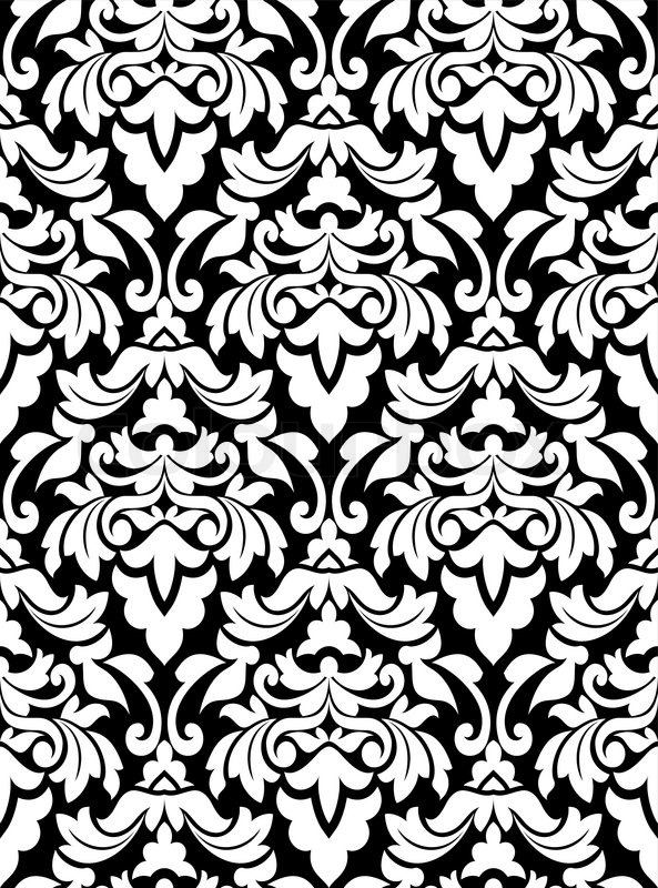 593x800 Damask Seamless Pattern For Background Design In White And Black