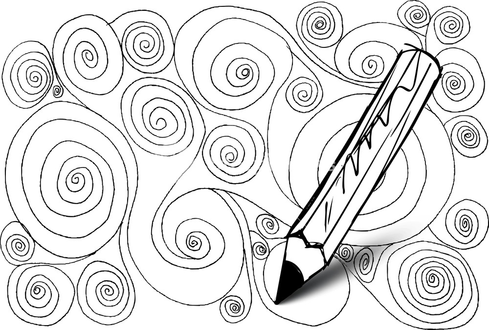 1000x676 Abstract Design Drawing Made By Pencil. Vector Background Royalty
