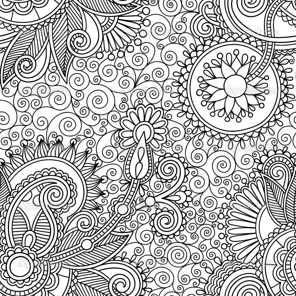 1024x1024 Splendid Ornate Black And White Background Wallpaper Wallpaper