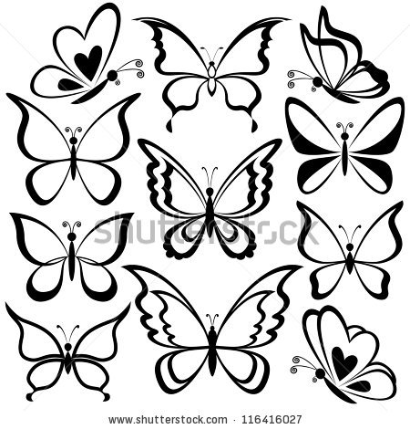 450x470 Various Butterflies, Black Contours On White Background. Vector