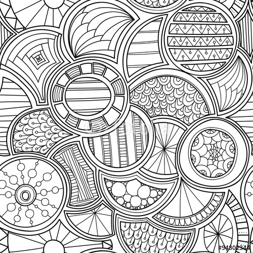 500x500 Vector Zentangle Style Circles Seamless Pattern. Doodle Black