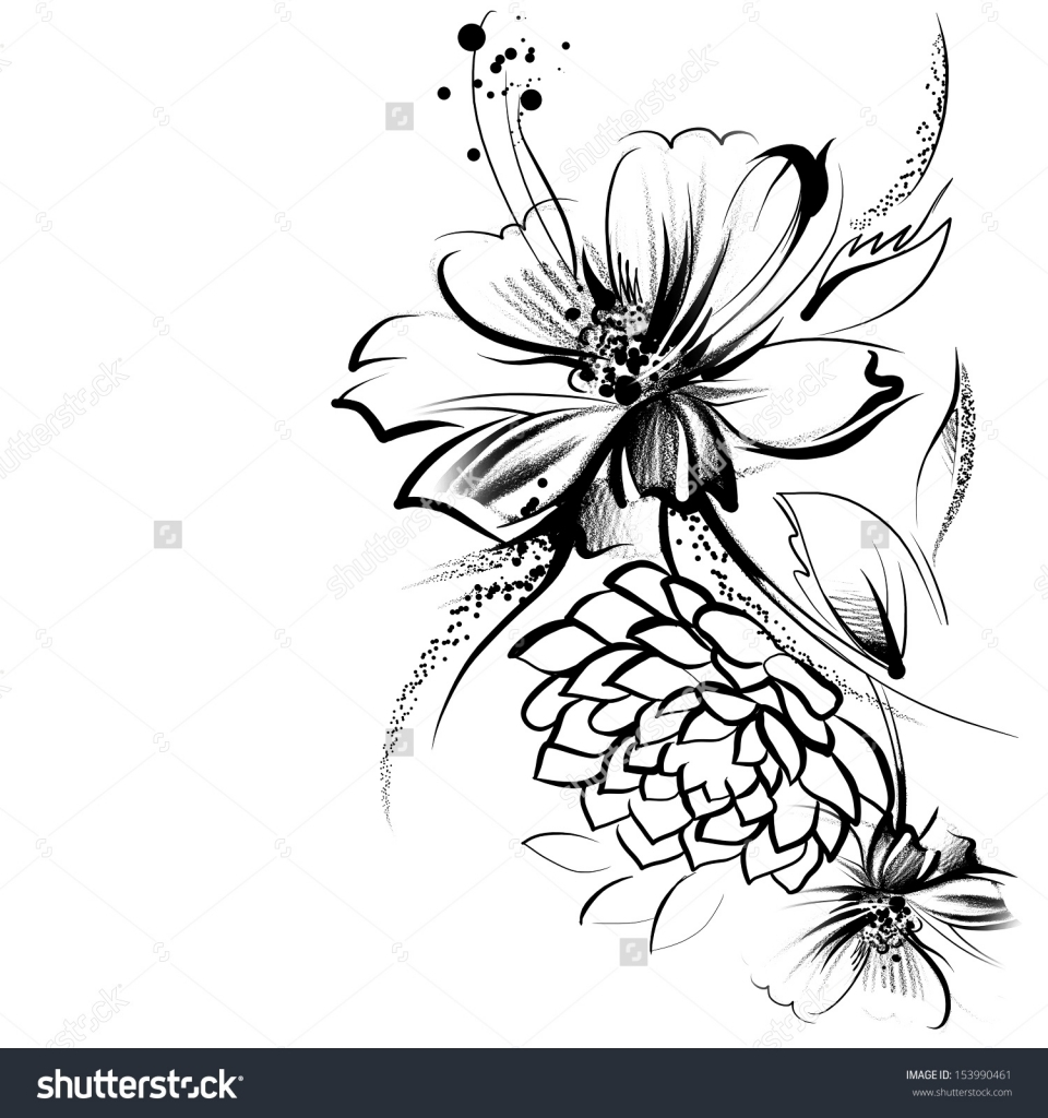 960x1024 Flower Drawings Pencil Black Background With White Flower Drawings
