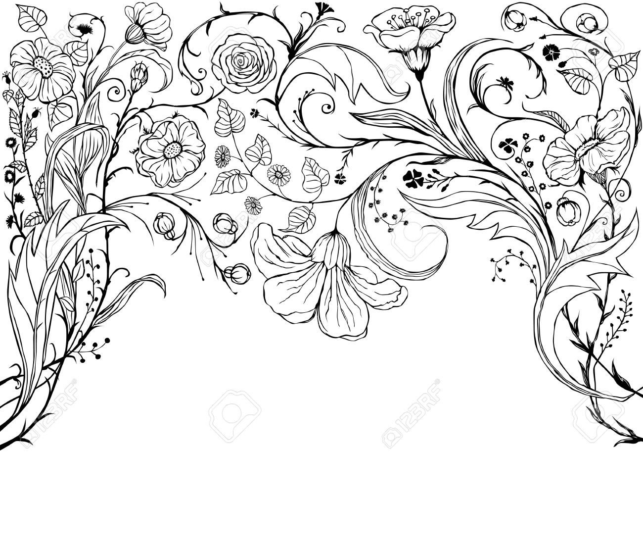 1300x1107 Flowers Different Drawings Decorative Floral Background