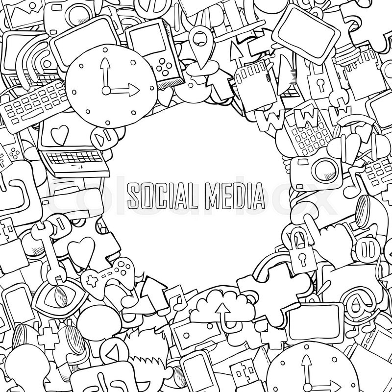 800x800 Social Media Background With Media Icons Technology Hand Lettering