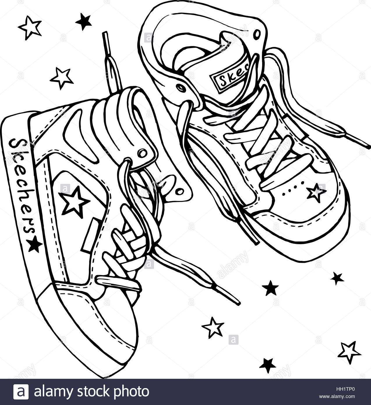 1274x1390 Vector Sketch Of A Pair Of Sneakers With Laces On A White