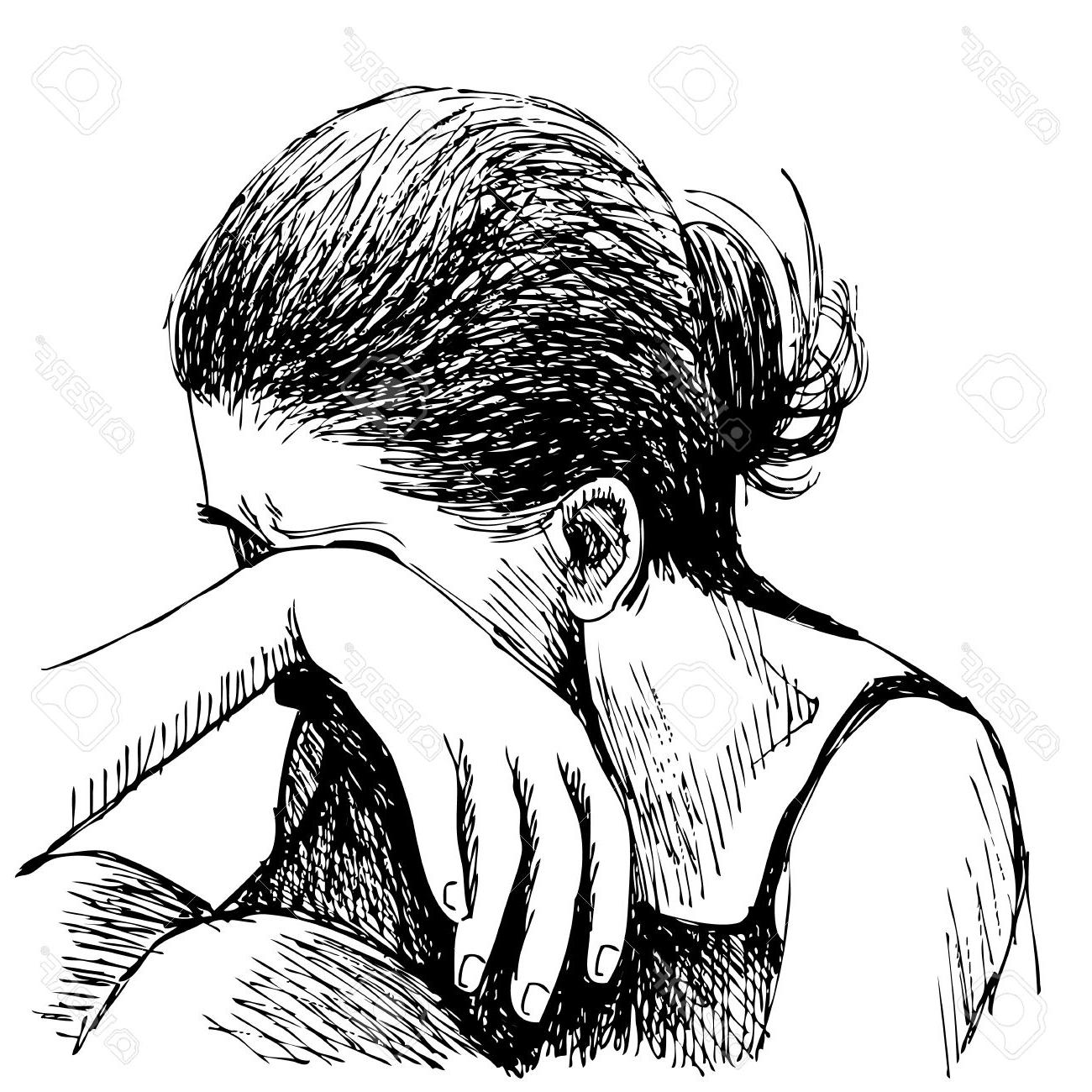 1300x1300 Drawing Sad Girl By White And Black Human Emotion Sketch, Sad Girl