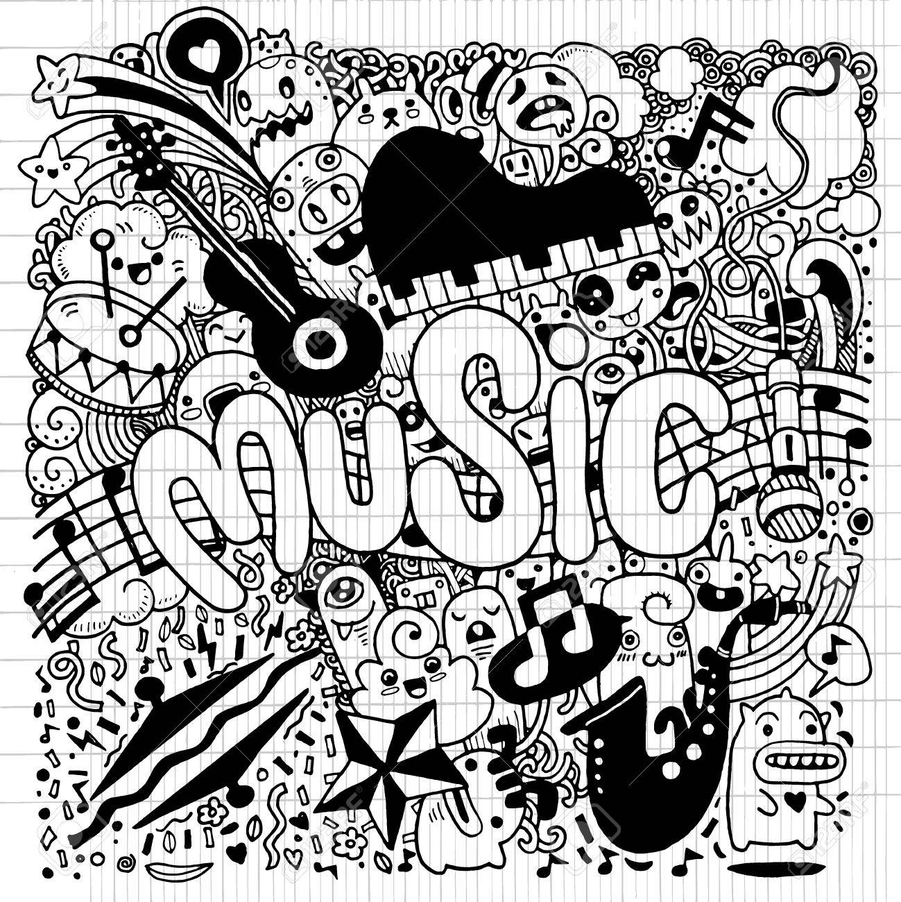 1299x1300 Abstract Music Background ,collage With Musical Instruments.hand