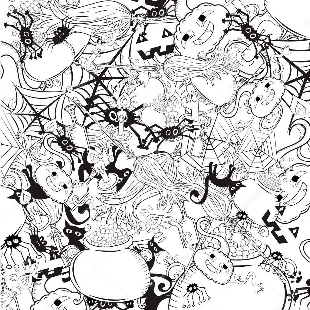 1024x1024 Halloween Background Sketch Stock Vector Natali Ka