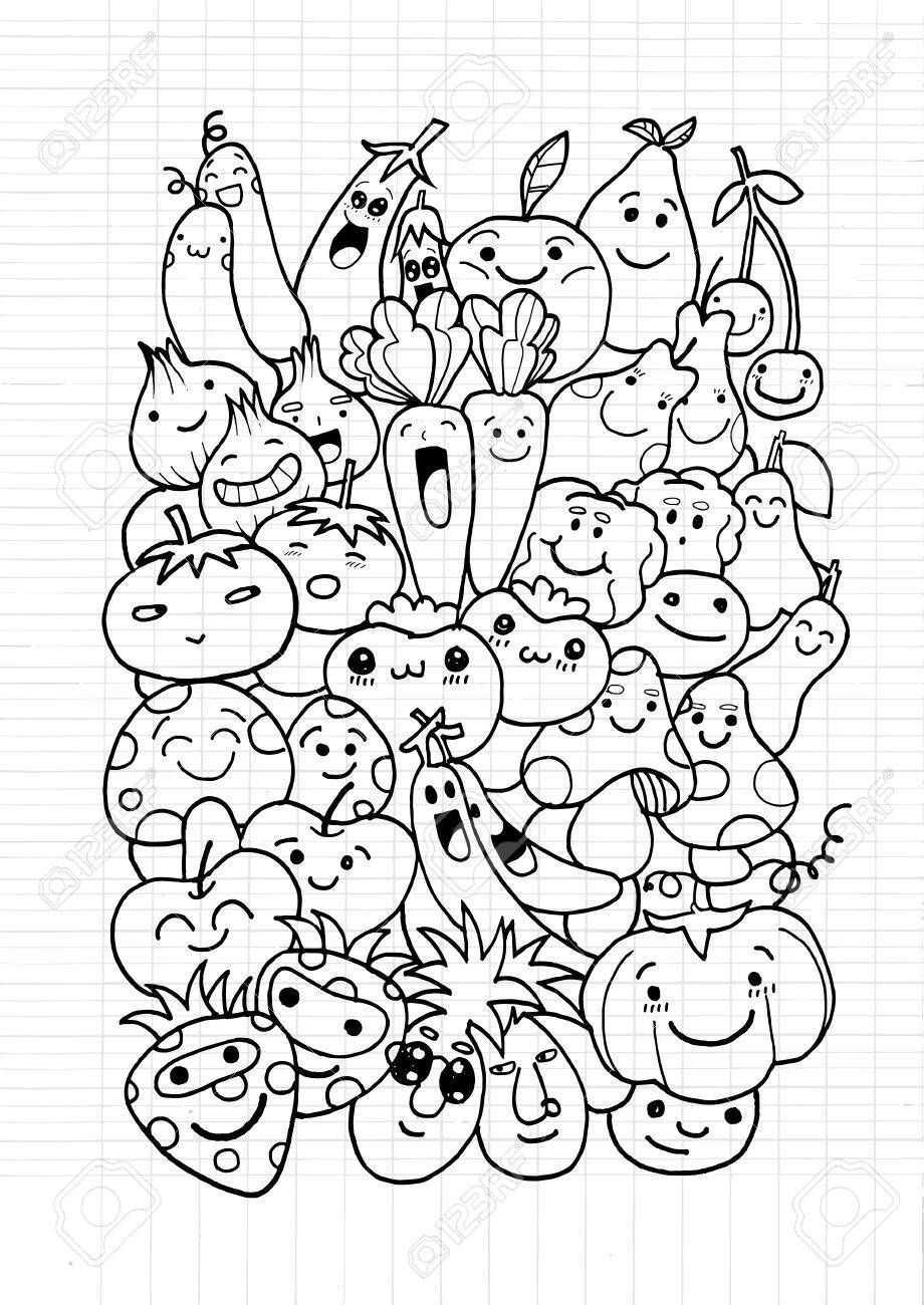 920x1300 Hipster Fruit And Vegetable Doodles Background,drawing Style