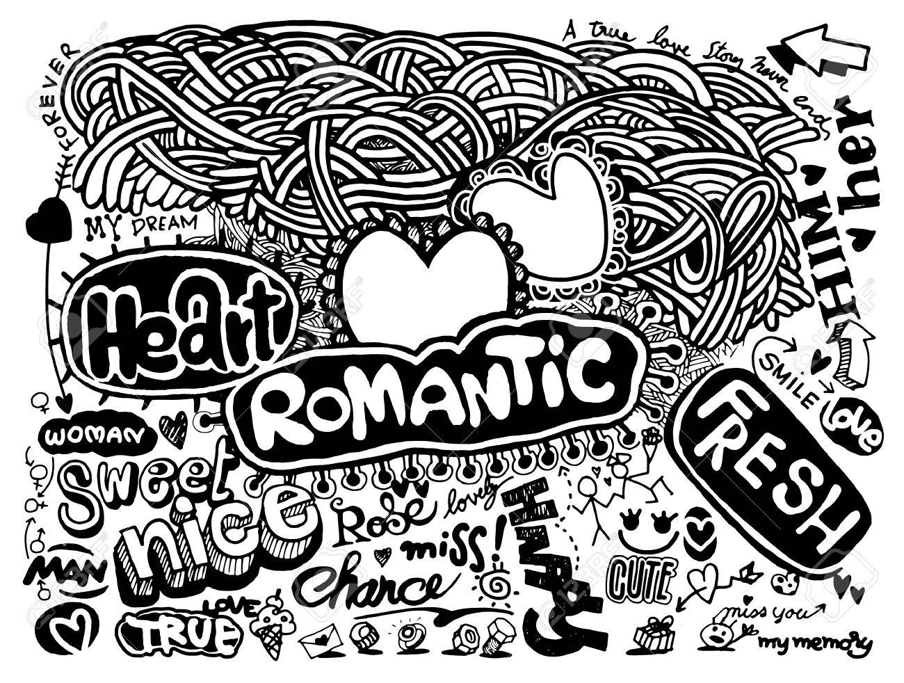 1300x982 Hipster Love Doodles Background,drawing Style.vector Illustration