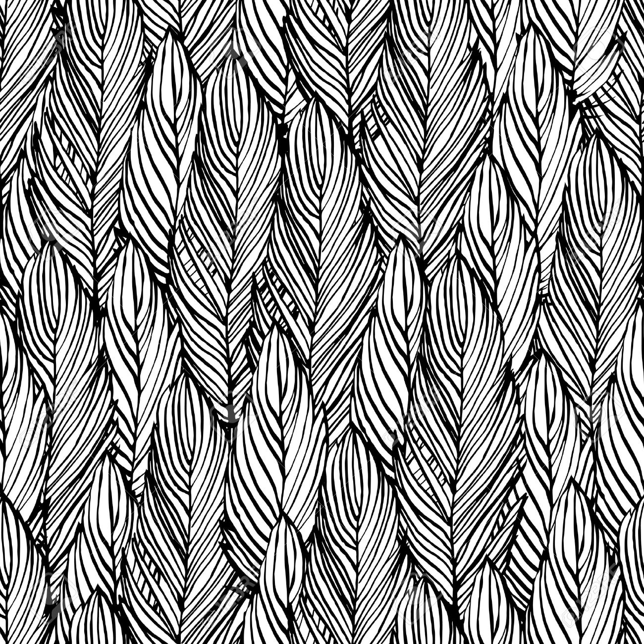 1300x1300 Outline Hand Draw Feather Seamless Pattern, Black And White