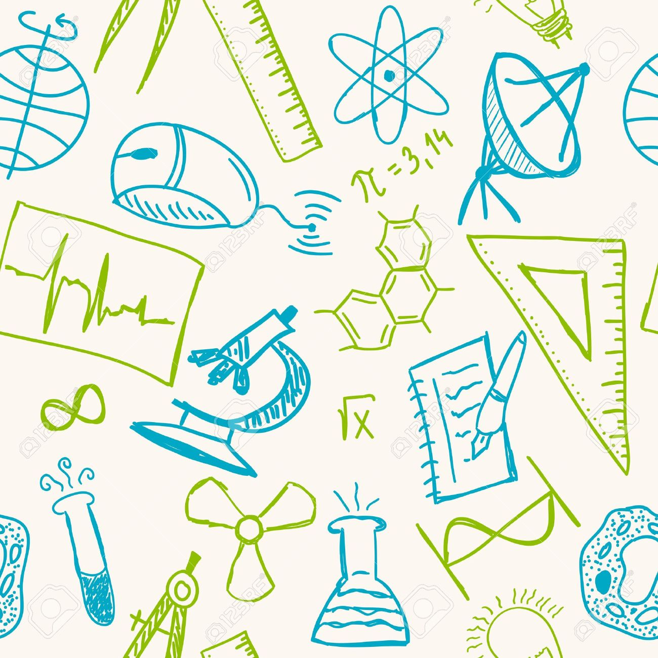 1300x1300 Science Drawings On Seamless Pattern