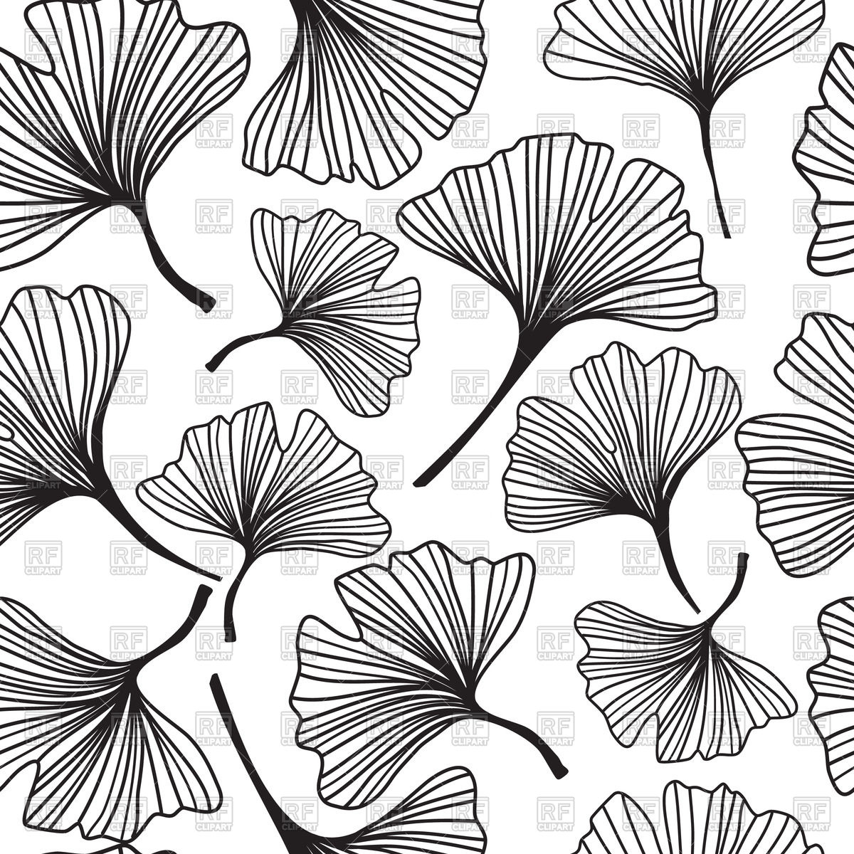 1200x1200 Seamless Floral Background With Sketch Of Ginkgo Biloba Royalty