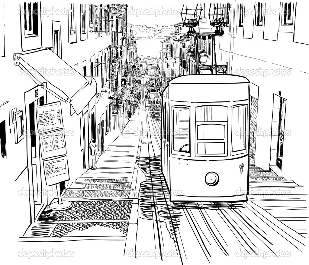 1023x875 Vector Illustration Of The Street Drawn In Sketch Style On A White