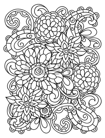 341x450 Background With Line Flowers For Adult Coloring Page Printing