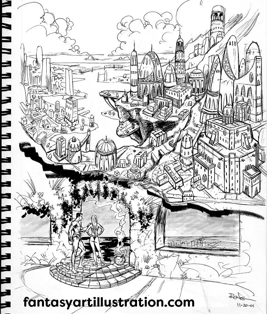 935x1100 Drawing Fantasy Backgrounds