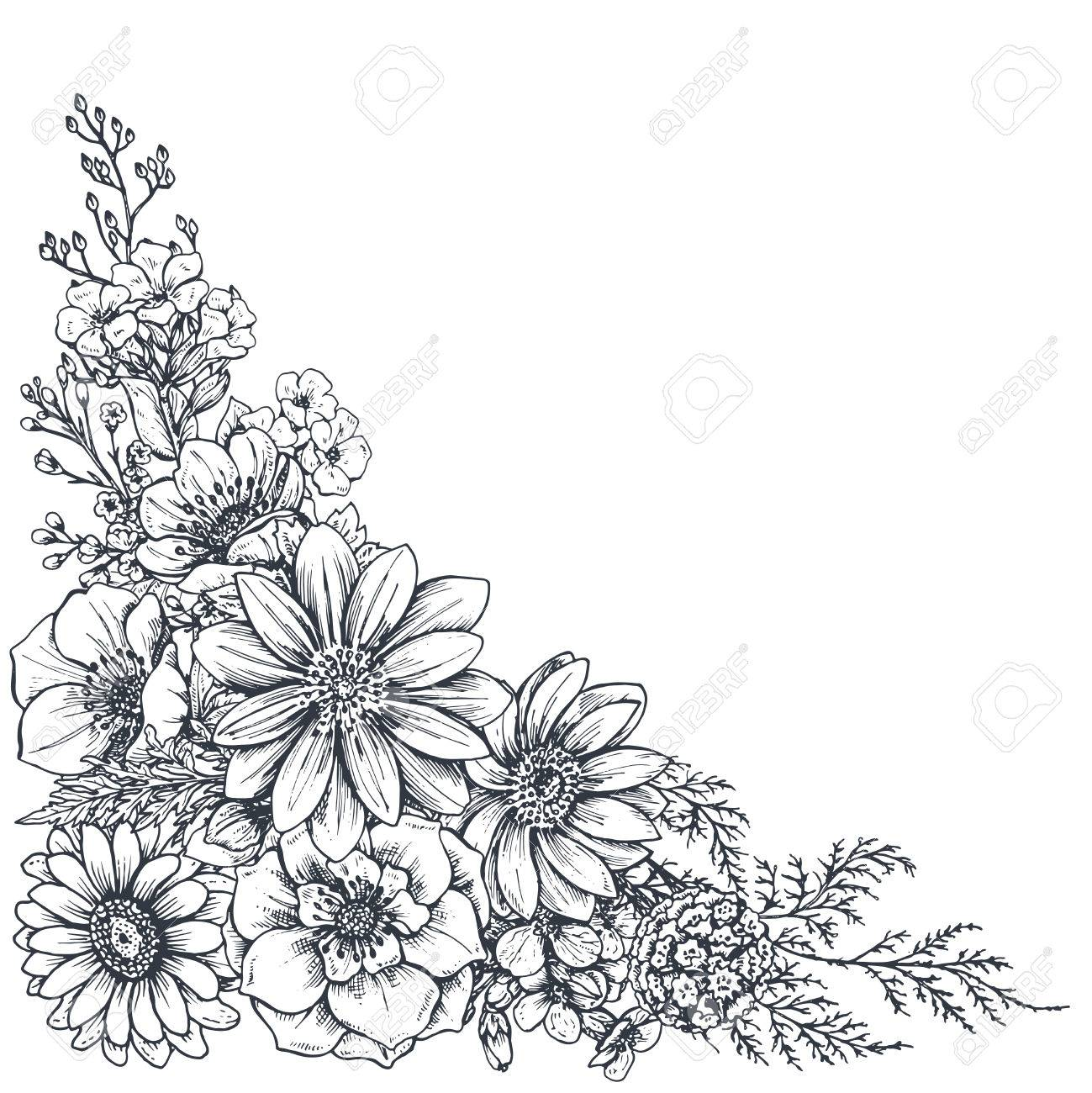 1299x1300 Floral Backgrounds With Hand Drawn Flowers And Plants. Monochrome