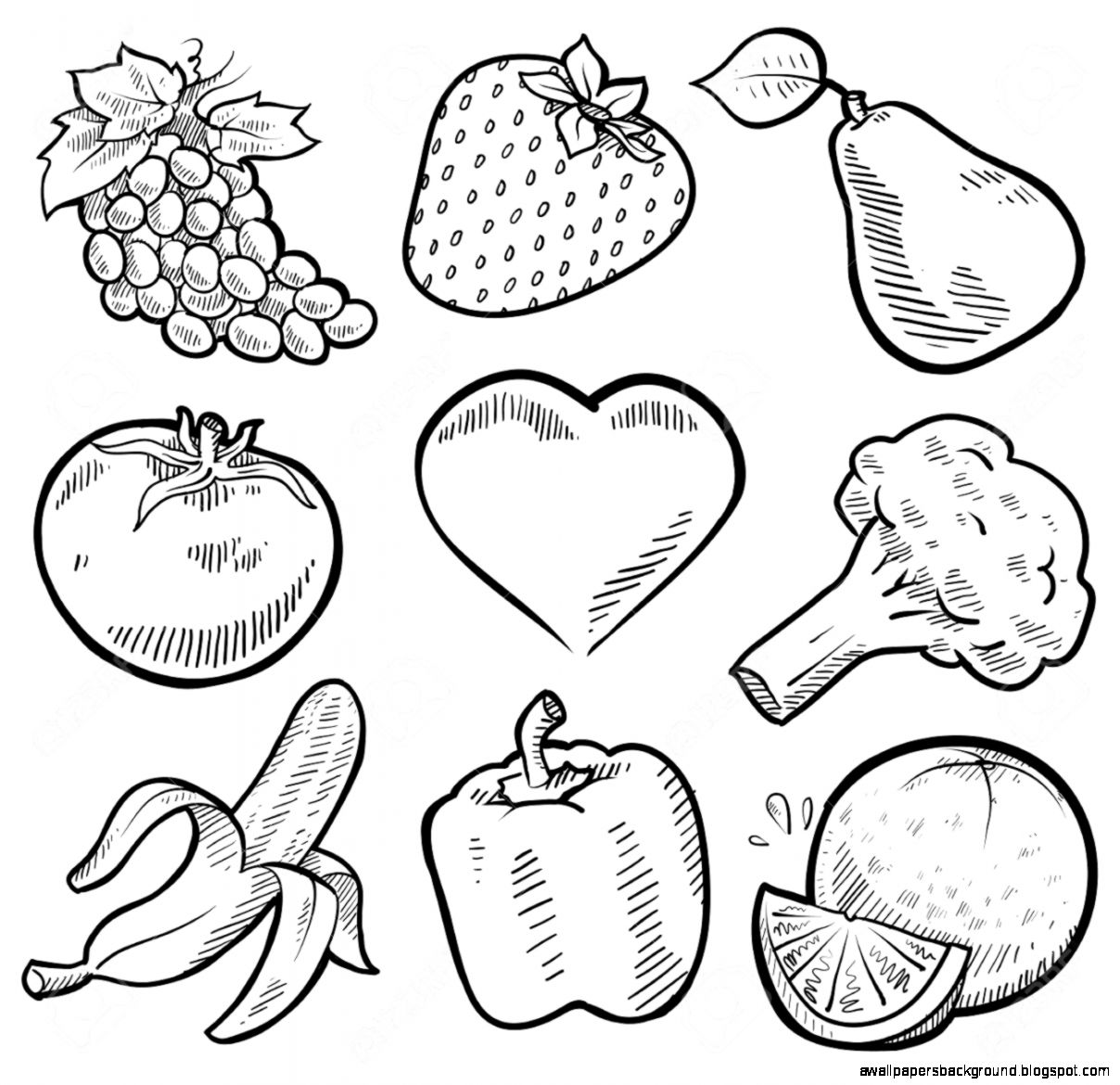 1208x1170 Fruits And Vegetables Drawing Wallpapers Background