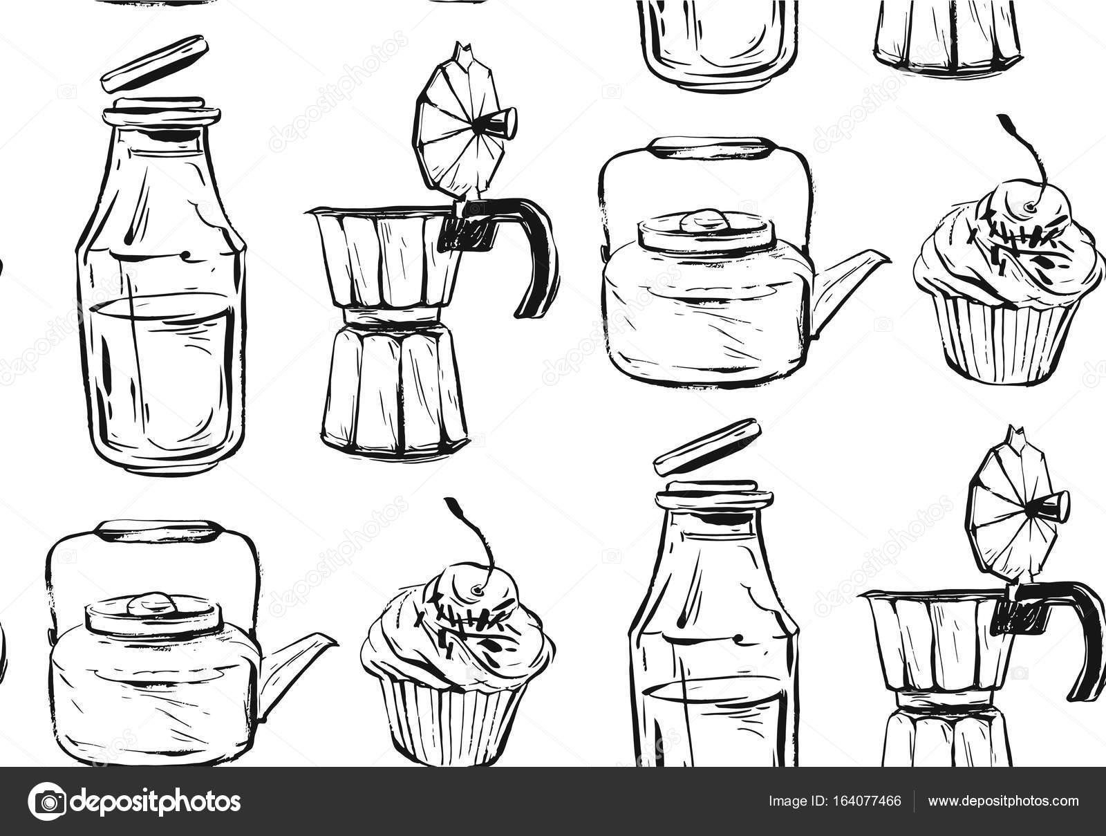 1600x1209 Yummy Food Seamless Pattern. Hand Drawn Vector. Good