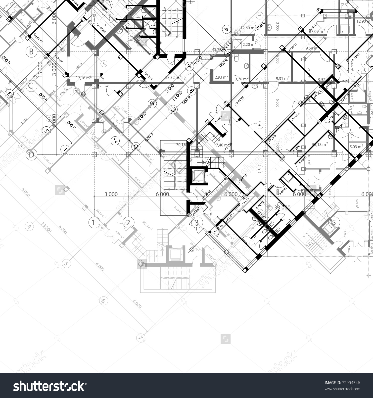 1500x1600 Architectural Drawing Background. Background Blue Drawing. Line