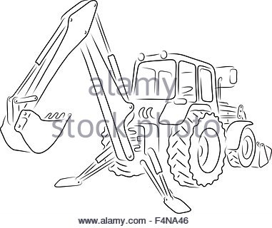 381x320 Drawn Excavator On White Background. Clip Art On White Backgrounde