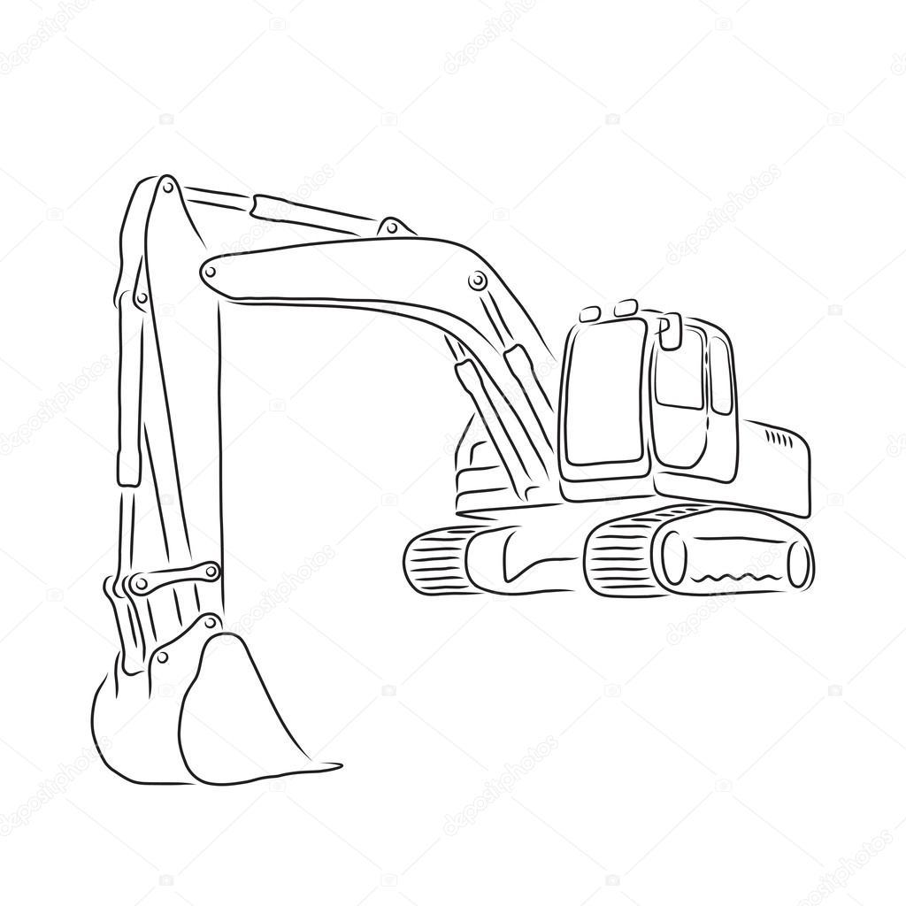 1024x1024 Outline Of Excavator Vector Illustration Stock