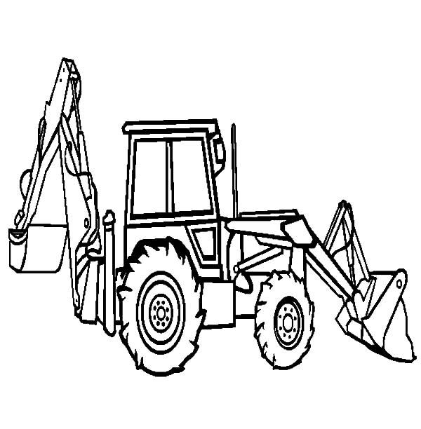 600x612 Backhoe Loader Excavator Coloring Pages