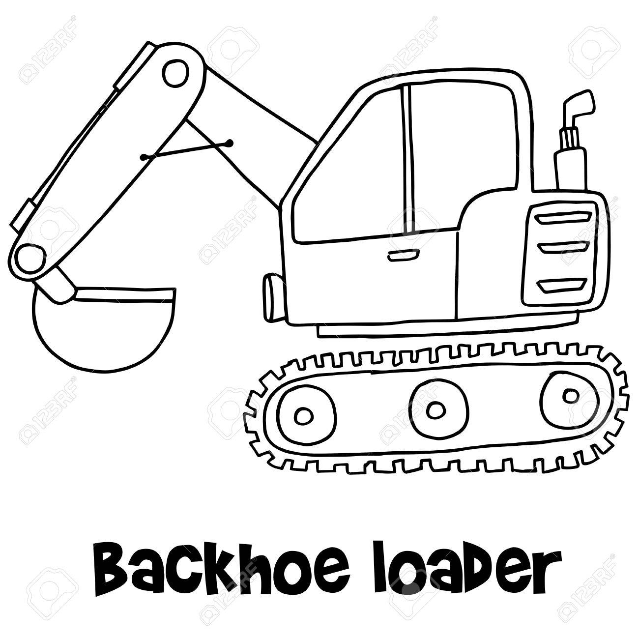 1300x1300 Backhoe Loader With Hand Draw Royalty Free Cliparts, Vectors,