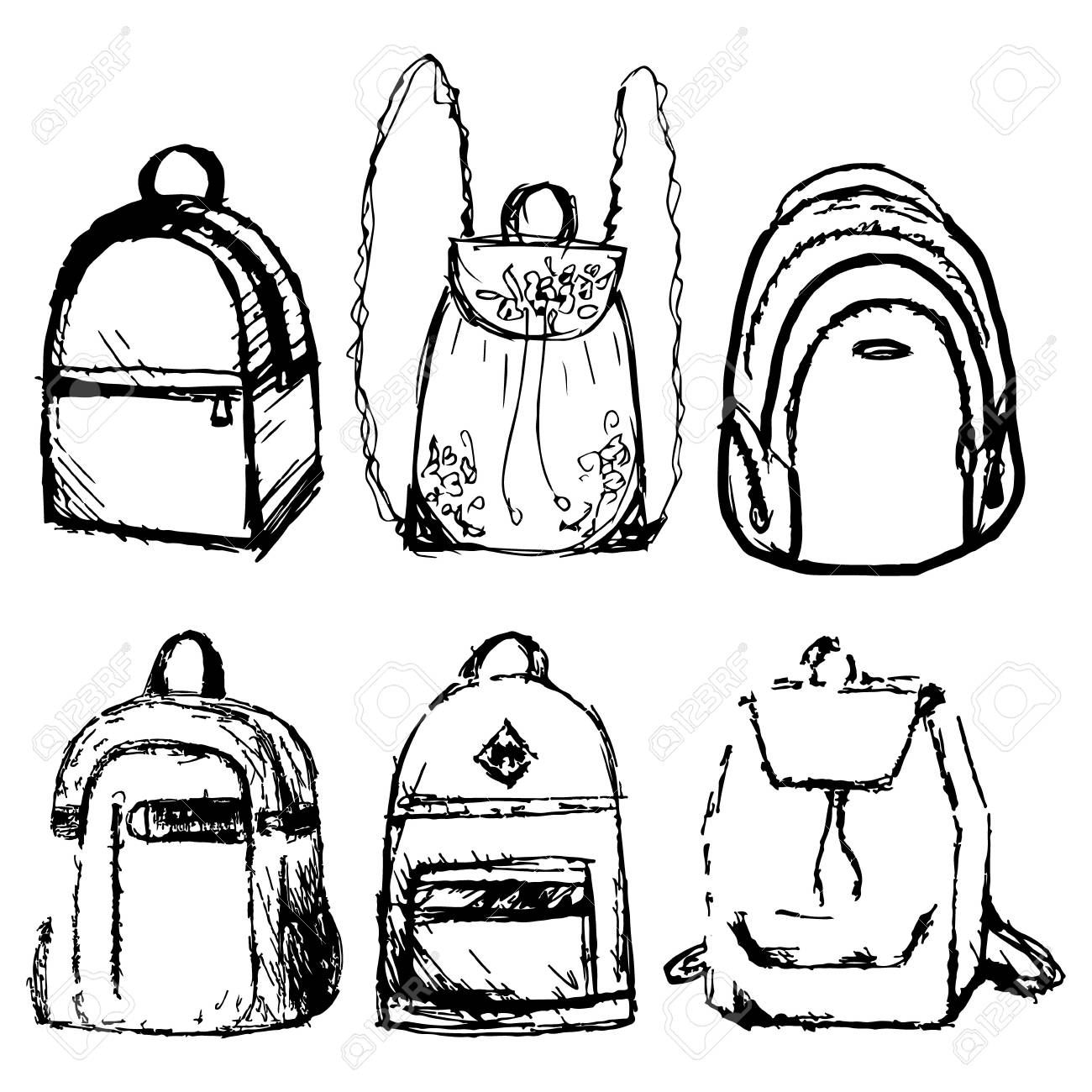 1300x1300 Hand Drawn Vector Set Of Sketch Doodle Backpacks. Casual Backpack