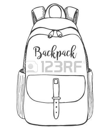 373x450 Sketch Of A Rucksack. Backpack Isolated On White Background