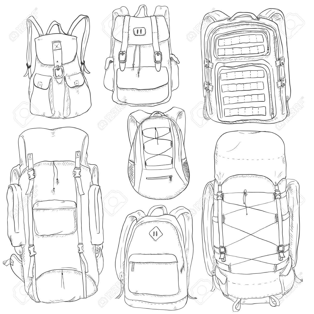 1300x1300 Vector Set Of Sketch Doodle Backpacks. Casual Backpack, Fashion
