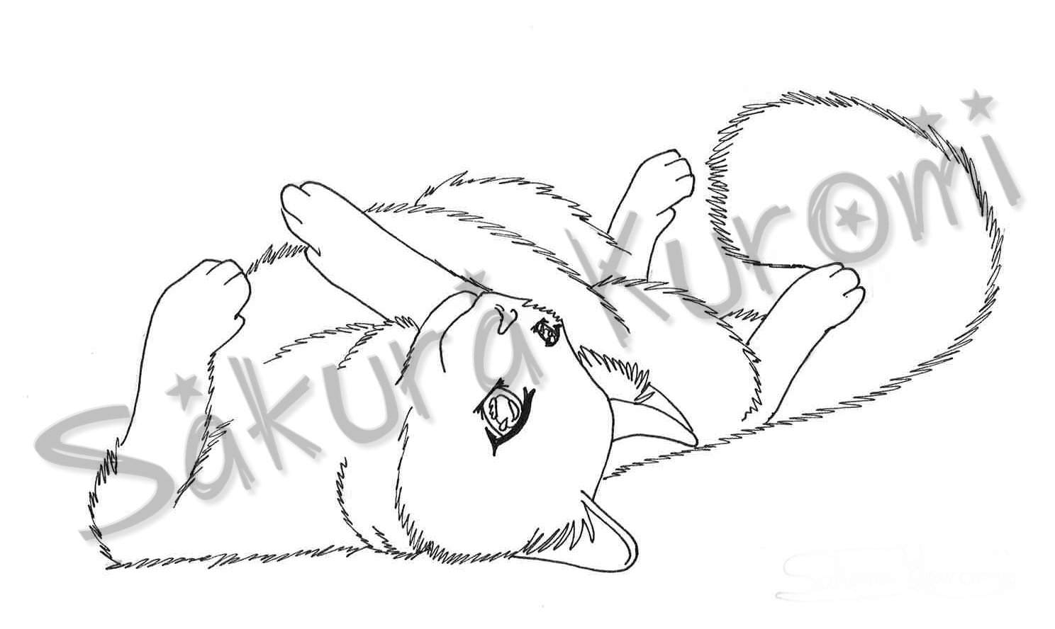 1488x888 Cat Lineart Lying By Sakura Kuromi