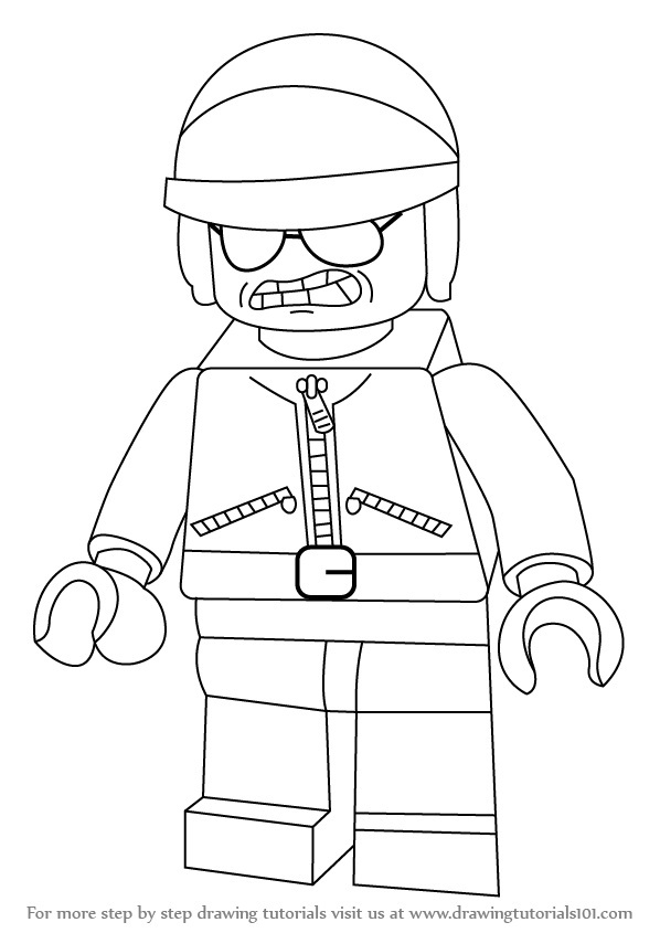 598x845 Step by Step How to Draw Bad Cop from The LEGO Movie