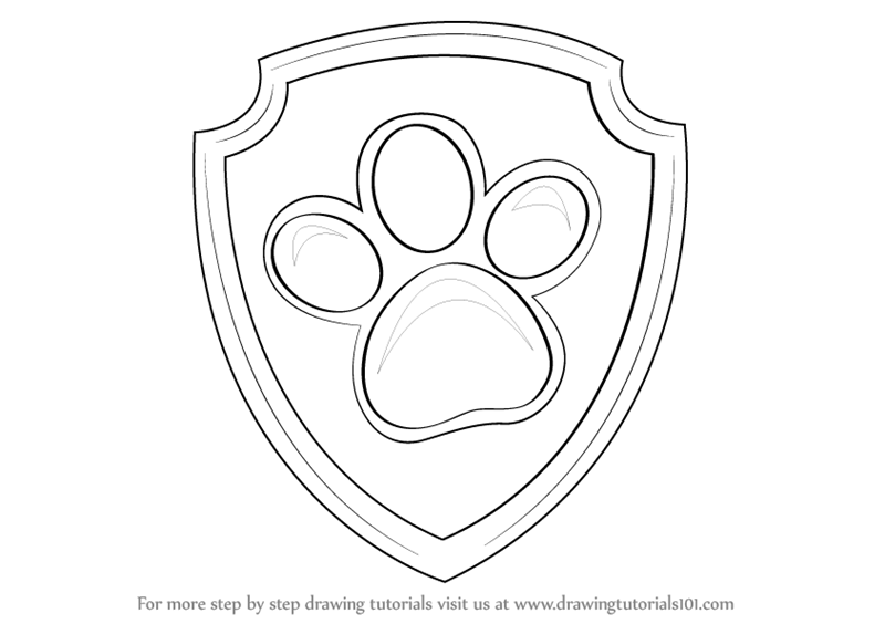 800x564 Learn How To Draw Ryder Badge From Paw Patrol (Paw Patrol) Step By