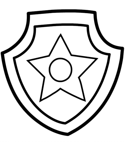 424x480 Paw Patrol Chase Badge Coloring Page Free Printable Coloring Pages