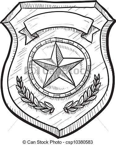 375x470 Police Badge Drawing