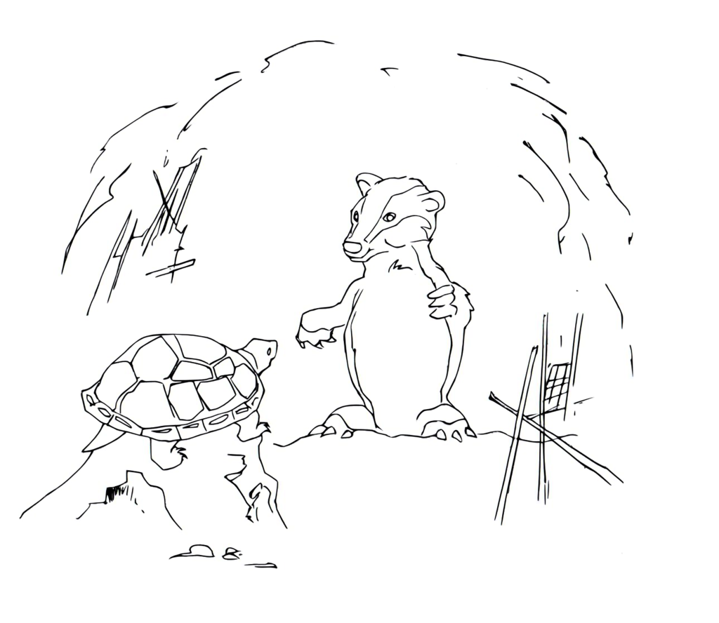 1024x888 Badger Talking To Turtle Drawing (Vectorlines) By Electronicdave