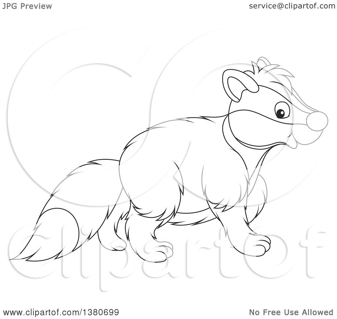 1080x1024 Clipart Of A Black And White Lineart Honey Badger Walking