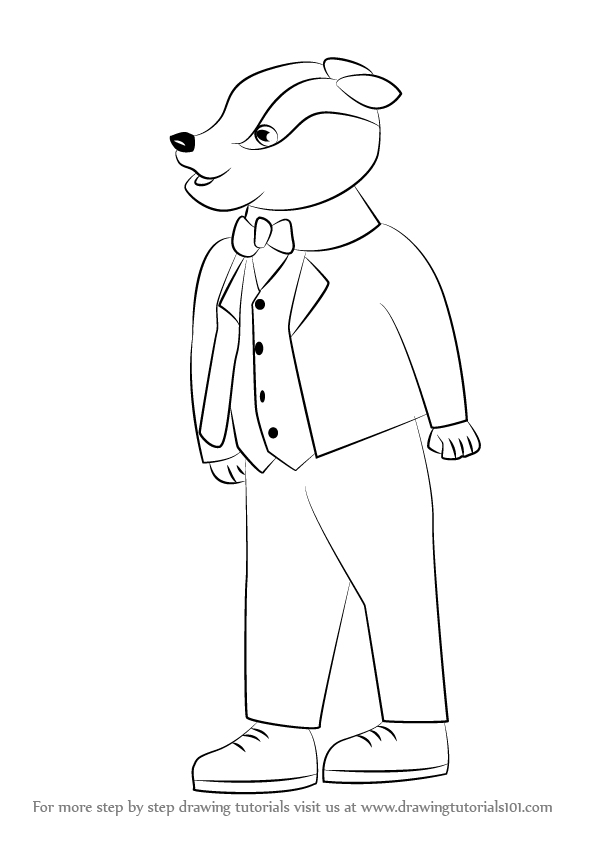 596x843 Learn How To Draw Bill Badger From Rupert (Rupert) Step By Step