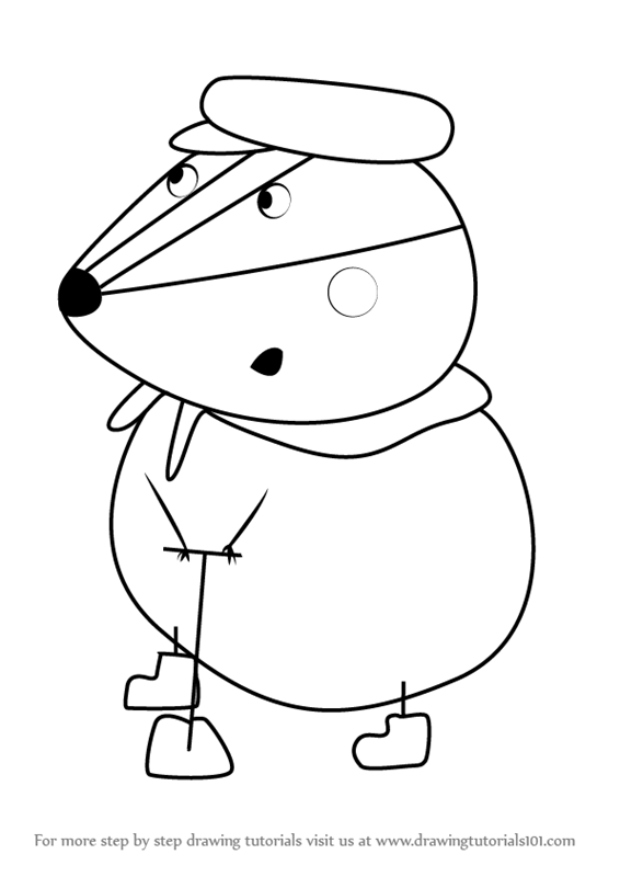 566x800 Learn How To Draw Mr. Badger From Peppa Pig (Peppa Pig) Step By