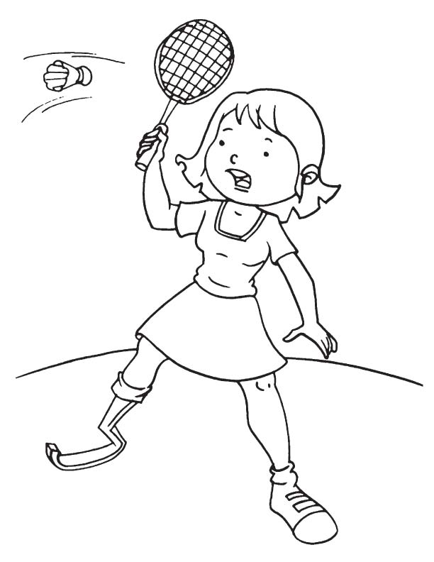 612x792 Disabled Girl Playing Badminton Coloring Page School