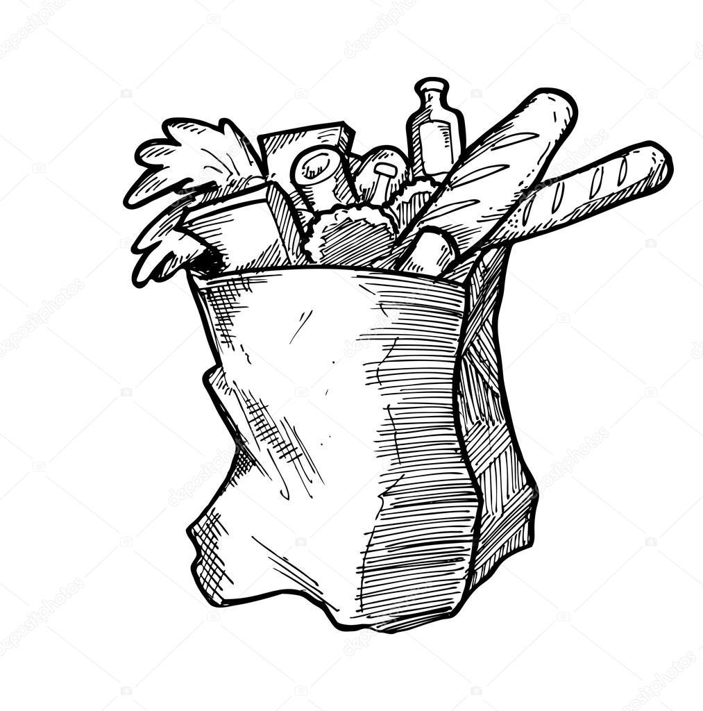 1013x1024 Hand Drawn Grocery Bag Stock Vector Mhatzapa