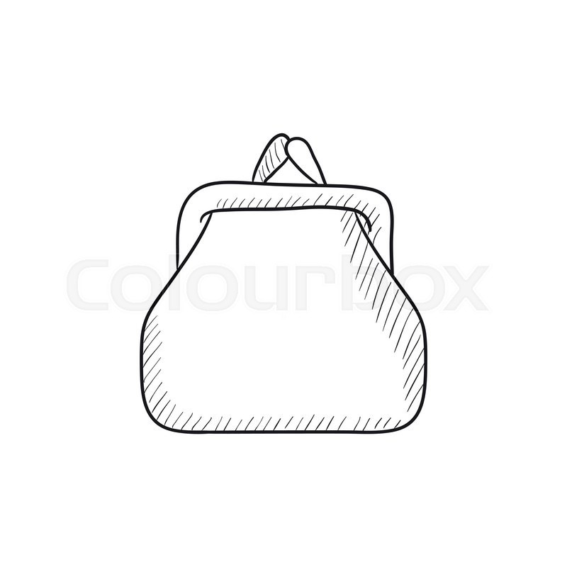 800x800 Purse Sketch Icon For Web, Mobile And Infographics. Hand Drawn